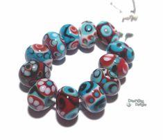 SANTA FE Handmade Lampwork Beads  Red by desertbugdesigns on Etsy