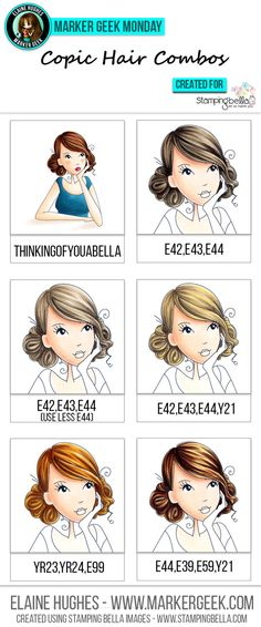 This is a great tutorial for learning to color brown hair with copic markers. Stamping Bella - Marker Geek Monday Copic Hair Combos by Elaine Hughes Copic Marker Art, Copic Pens, Copic Art, Copics, Copic Sketch Markers, Hidrocor, Copic Markers Tutorial, Spectrum Noir Markers, Coloring Tips