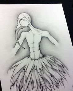 """""""The Dancer"""" (2015) I like beaks.  I really do.  They want to be drawn and then attached in places they just shouldn't be.  I also like androgyny ... so I end up with androgynous bird men ... in feathered skirts."""