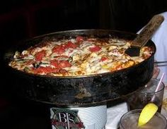 BJ's Brewhouse Deep dish pizza. My favorite pizza hands down. It's soooo good!