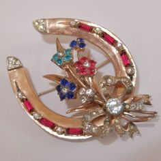 RARE VINTAGE CORO GOLD OVER STERLING SILVER RHINESTONE LUCKY HORSESHOE BROOCH