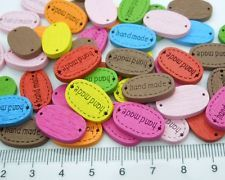 100pcs random Handmade tag label Wooden Connector buttons Sew Scrapbooking Craft