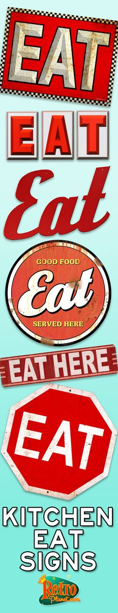 Transform your kitchen, game room or company lunchroom into a classic 50s style eatery with our great selection of Kitchen Eat Signs.