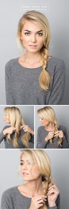 5 Dummy Proof Hairstyles That Everyone Can Master easy side braid tutorial Lazy Day Hairstyles, Pretty Hairstyles, Braided Hairstyles, Hairstyle Ideas, Business Hairstyles, Camping Hairstyles, Easy Beach Hairstyles, Wedding Hairstyles, Sleep Hairstyles