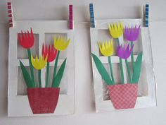 Tulips on the window – Plastyka – Primavera Spring Arts And Crafts, Spring Art Projects, Kids Crafts, Easter Crafts, Santa Crafts, Spring Activities, Art Activities, Mothers Day Crafts, Art Classroom