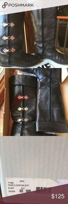 Frye Black Paige Clovertab Cuff Boots. So cute and comfortable. Great with jeans, leggings and dresses! Frye Shoes