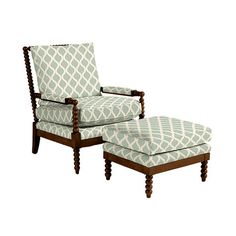 Our Shiloh Spool Chair and Ottoman offers deep seat comfort framed with rich vintage texture. Hardwood frame features thick poly-foam seat and back for comfort. Chair And Ottoman, Armchair, Spool Chair, British Colonial Style, Farmhouse Interior, Engineered Hardwood, Ballard Designs, Foam Cushions, Living Room Chairs