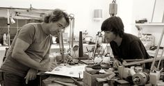 Workshop in 2000's. Enric Majoral with his son Roc Majoral