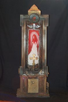 white wedding- found object assemblage framing oil painting by rich thomson