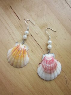 Earrings made from shells,fake pearls & silver .