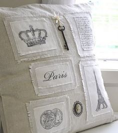 Pillow ~ inspired by Coco Chanel. Shabby and Chic. Sewing Pillows, Diy Pillows, Linen Pillows, Decorative Pillows, French Pillows, Decoration Shabby, Shabby Vintage, Vintage Paris, Pillow Fight