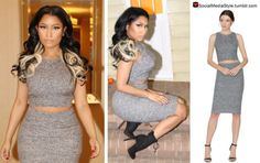 Buy Nicki Minaj's Grey Crop Top and Pencil Skirt, here!