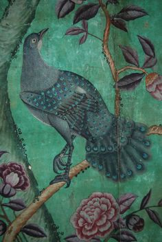 Detail of a bird in the Chinese wallpaper at Erddig, hung in the 1770s. ©National Trust Images/Andrew Bushsh