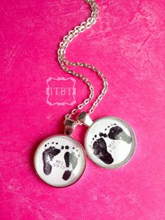 Sweet Pendants Personalized with Your Baby's Footprints - Proud Grandma Gift - Mommy Necklace