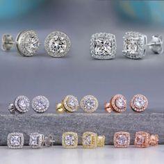 Crown Women Classic Shining Zircon Small Stud Earrings Sapphire Earrings, Women's Earrings, Wedding Earrings, Crystal Earrings, Crystal Rhinestone, Fashion Jewelry, Women Jewelry, Women's Fashion, Fashion Earrings