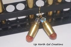 40 Caliber Earrings. Cartridge Earrings, Agates and Crystals Earrings, Cowgirl Wear, Rodeo Jewelry, Gun Lovers, Hunters Earrings, Shooters