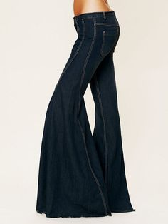 FREE PEOPLE EXTREME VINTAGE CHAMBRAY FLARE Boho Wide Leg Raw Hem Bell Bottoms 24 #FreePeople #Flare