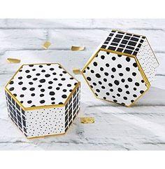 Kate Aspen Set of 12 Modern Classic Hexagon Favor Boxes