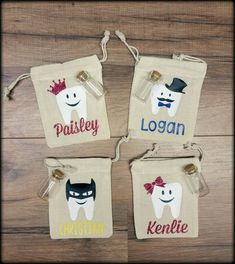These adorable tooth fairy pouches are perfect to make a special tradition with your little one every time the tooth fairy comes! These are Personalized with your childs name and favorite color! They come with a little vial for your child to place their tooth in also! Bags are 3x4 muslin drawstring pouches. (Design can be changed/altered, convo me if you have something else in mind). **Please leave name in the note to seller space at checkout! If you dont leave the name during check out it…