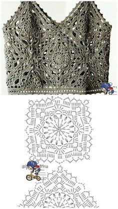 T-shirt Au Crochet, Point Granny Au Crochet, Pull Crochet, Mode Crochet, Crochet Motifs, Crochet Shirt, Granny Square Crochet Pattern, Crochet Diagram, Crochet Squares