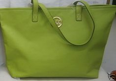 $150.00 MICHAEL KORS LIME GREEN LARGE LEATHER TRAVEL TOTE + FREE GIFT