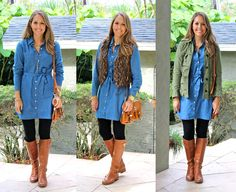 This chambray dress is the marriage of two awesome fashion things: chambray and a classic shirtdress. I'm loving it with riding boots but can also see it working with sandals this spring. It can be worn with or without the matching chambray belt (or with a leather belt instead