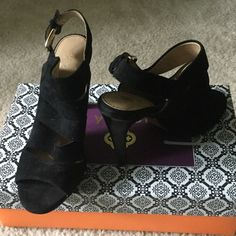 """ISOLA Ballencia Heels Black Suede heal. Size 7. Heel height 4"""". Great condition-I've only worn them 3 times. Love them but can't wear a heel that high anymore. Isola Shoes Heels"""
