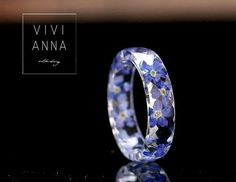 Ringe - Harz Ring mit echten Vergissmeinnicht - R097 *  - ein Designerstück von Viviannaschmuck bei DaWanda