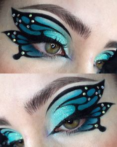 Makeup Eye Looks, Eye Makeup Art, Colorful Eye Makeup, Crazy Makeup, Pretty Makeup, Eyeshadow Makeup, Peacock Eye Makeup, Fairy Makeup, Mermaid Makeup