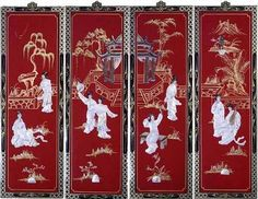 Oriental Wall Art amazon: asian oriental lacquered painting wall art plaque
