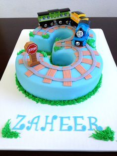 Thomas the train number 3 fondant birthday cake.  Our marshmallow fondant recipe at:  http://caketalkblogger.blogspot.com/2014/04/cake-coutures-marshmallow-fondant.html