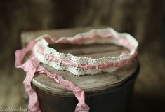 Newborn Headband, Baby Headband, Baby Halo in Pink or Brown and Off White, Cream, Vintage Lace, Great for Photo Prop
