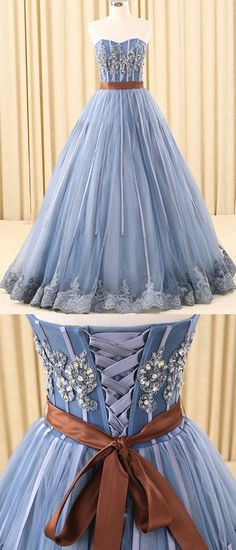 A-line Sweetheart Floor-Length Tulle Ink Blue Prom Dresses With Rhine Stones ASD26932 #promfdresses #blue #vintage #country #unique