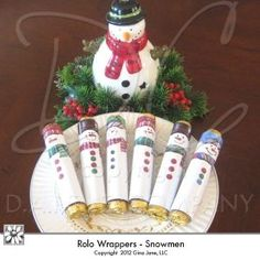Christmas Treats - Snowman Rolo Candy Bar Wrappers. Super Cute! Easy on the ink! Fast and fun to make Christmas Crafts for Kids! Free Printables, Free Graphics, Free Kits, Free Digital Clip Art, Graphics and Backgrounds for Scrapbooking, Gina Jane Designs - DAISIE Company