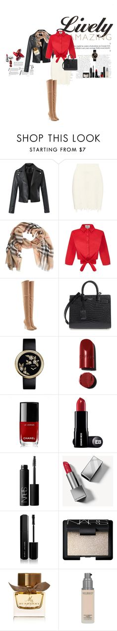 """Amazing Chic Outfit"" by elise-viret ❤ liked on Polyvore featuring adidas Originals, Burberry, Collectif, Balmain, Yves Saint Laurent, Chanel, NARS Cosmetics and Marc Jacobs"