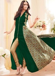 Green Beige Embroidery Work Georgette Banarsi Brocade Designer Anarkali Suit  http://www.angelnx.com/Salwar-Kameez
