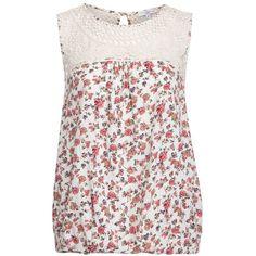 Cream Floral Crochet Neck Bubblehem Top ($32) ❤ liked on Polyvore