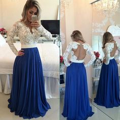Long sleeve Prom Dresses, Backless Prom Dress, Lace Prom Dress, 2016 Prom Dress…