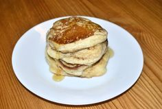 American pancakes without eggs! (Usually because we don't have any in) and really easy to do in the microwave on a buttered plate (about a minute)