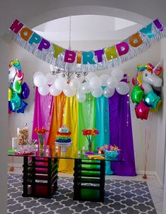 Rainbow & Unicorn themed Birthday Party - First Birthday Party Decor - meadoria Unicorn Themed Birthday Party, Trolls Birthday Party, Rainbow Birthday Party, 4th Birthday, Candy Themed Party, Birthday Ideas, Rainbow Party Decorations, Rainbow Parties, Birthday Party Decorations