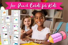 Printable Punch Cards for Kids - Free Word Work The New School, New School Year, Back To School, Punch, Kids Reading, Word Work, Kids Cards, My Children, New Books
