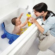 Bathtub Divider. Saves so much water  keeps baby in one part of the tub rather than sliding all around ~ a 1yr old gift? Cause lets face it: they care more about the box, might as well give something mom  dad can use. Bath toy as a gift tag.