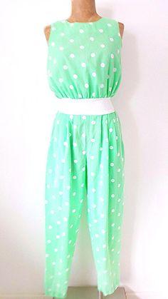 b7107cbe7e Pinup Jumpsuit Size Medium Rockabilly Polka Dot Retro Vintage 80s Summer  Green  MelissaPetites  Jumpsuit