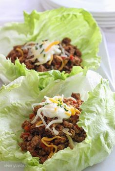 Turkey Taco Lettuce Wraps | Skinnytaste Great meal idea for 21 day Fix! And if you have a yellow use a tortilla.