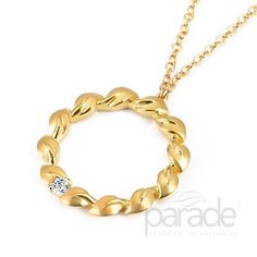 from Parade Design A single diamond accents a classic 18K gold Lyria Leaves necklace.