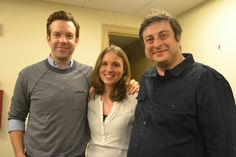 Behind the scenes - StarTalk Live at the Beacon Theater NYC (June 5. 2014) L to R: Hydrogeologist Tess Russo flanked by comic co-hosts Jason Sudeikis and Eugene Mirman (photo by Stacey Severn)