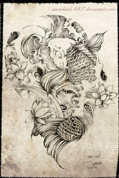"""Koi fish are the domesticated variety of common carp. Actually, the word """"koi"""" comes from the Japanese word that means """"carp"""". Outdoor koi ponds are relaxing. Sketches, Tattoos, Drawings, Sleeve Tattoos, Koi Tattoo Design, Asian Tattoos, Hip Tattoo, Tattoo Sketches, Tattoo Designs"""