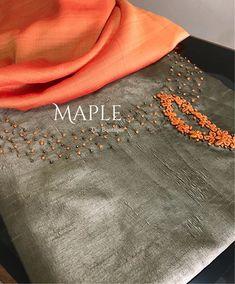 To customize whatsapp 9043230015 for Saree, blouse and Kurtis. Salwar Neck Designs, Kurta Neck Design, Kurta Designs Women, Dress Neck Designs, Blouse Designs, Embroidery On Kurtis, Hand Embroidery Dress, Kurti Embroidery Design, Flower Embroidery Designs