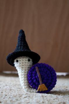 Snailoween  Witchy snail crochet amigurumi by FallenDesigns, $20.00