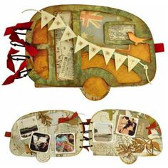 Caravan album/scrapbook ~ download PDF and link lists materials she used for her color combos